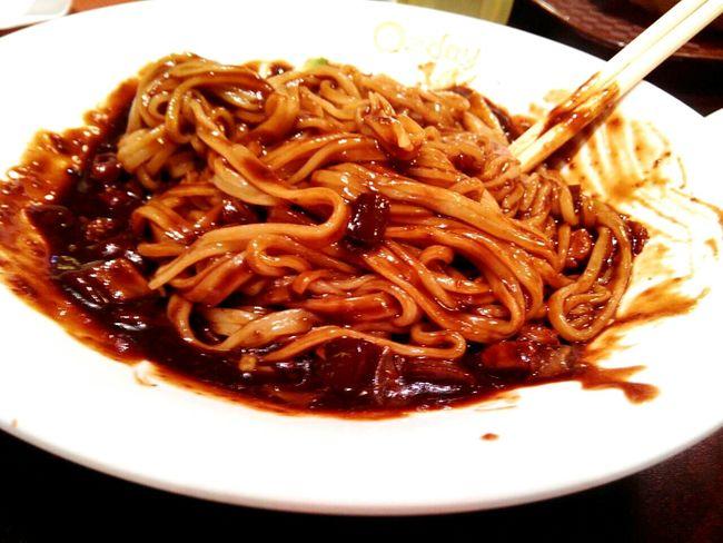 Jjangmyeon. Korean black bean sauce noodle. Foooooood! Food Photography Food Food Porn Noodles Jajjangmyeon Korean Food