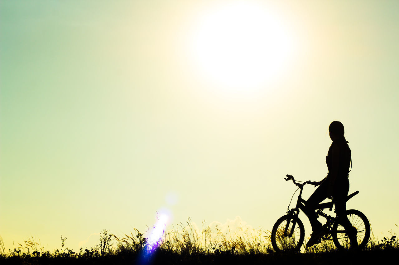Adult Adults Only Athlete Bicycle Biker Cycling Exercising Healthy Lifestyle Lifestyles Men Motorcycle Racing Mountain Bike Nature One Man Only One Person Only Men Outdoors Pedal People Silhouette Sky Sport Sunset Young Adult