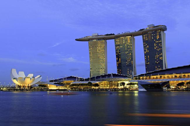 Marina Bay Sands Architecture Blue Blue Hour Built Structure City City Life Engineering Landscape Sky Travel Destinations Water