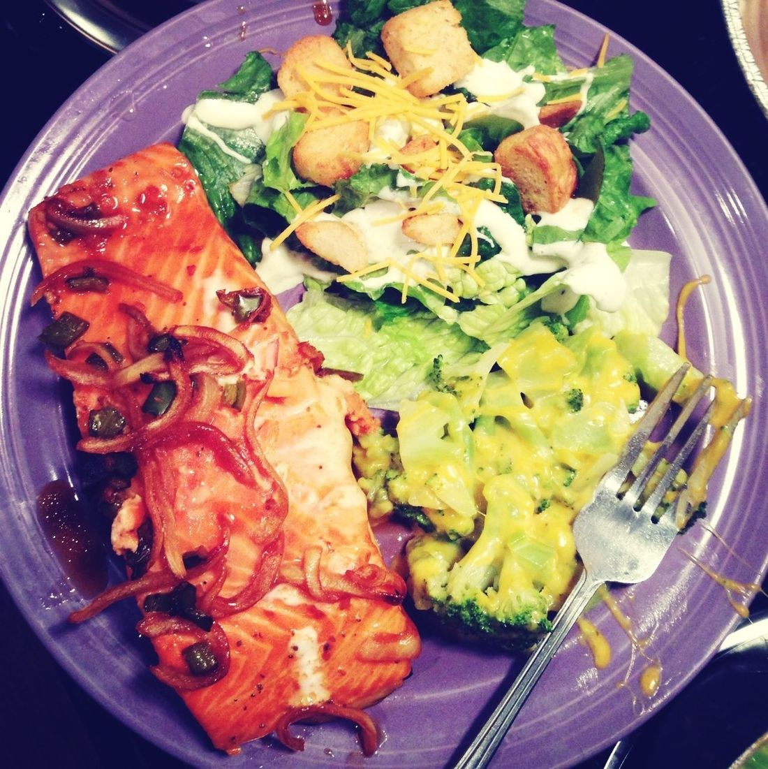 Salmon, salad & cheese broccoli
