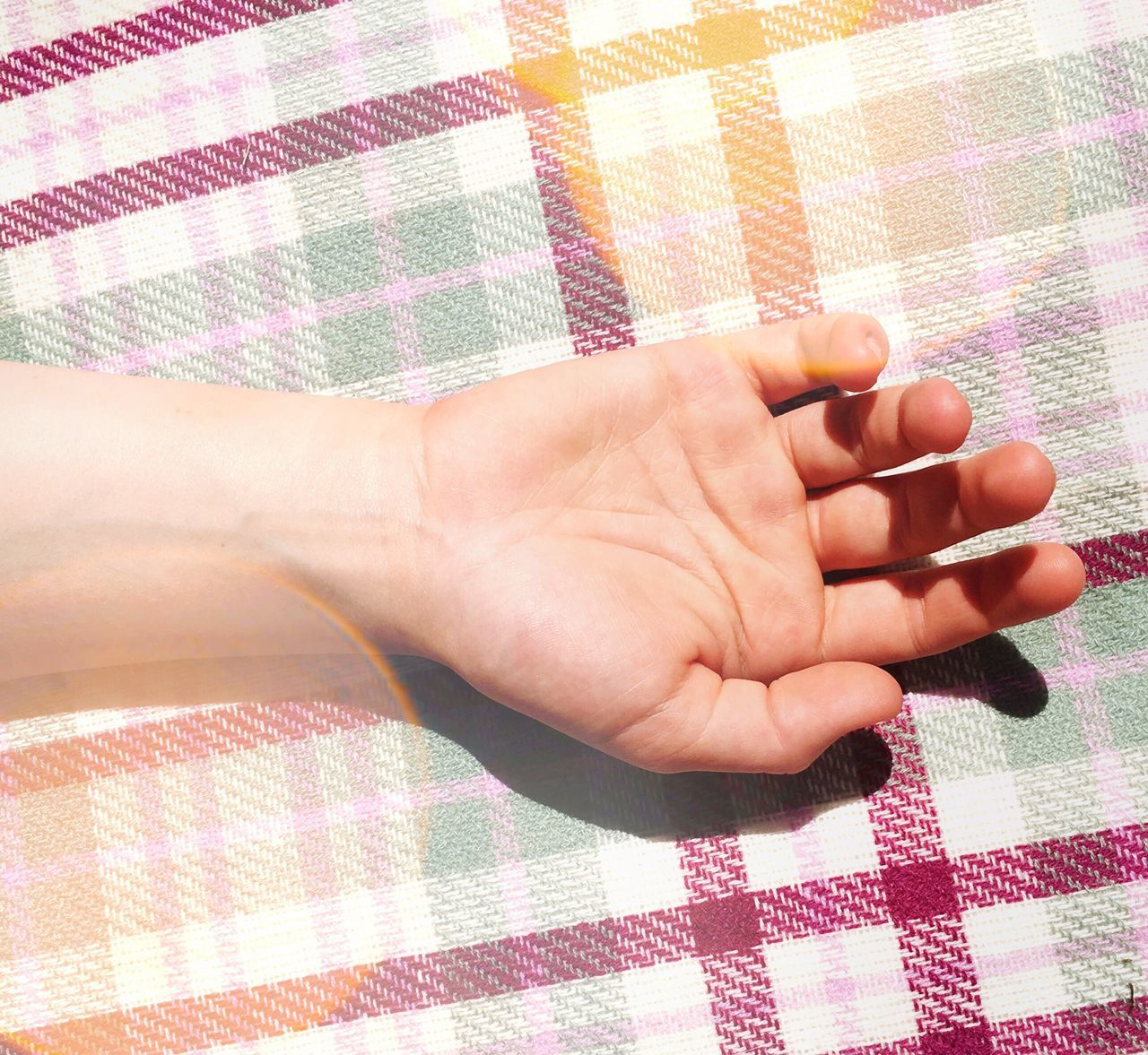 Summer Plaid // iPhone 6s // Checked Pattern Pattern One Person Human Body Part Human Hand Day Close-up Adult Hand Summer Sunshine Bokeh Sunlight Skin Abstract Contrast ShotOnIphone ShotoniPhone6s This Week On Eyeem Summer Photography Orange Purple Green Hands
