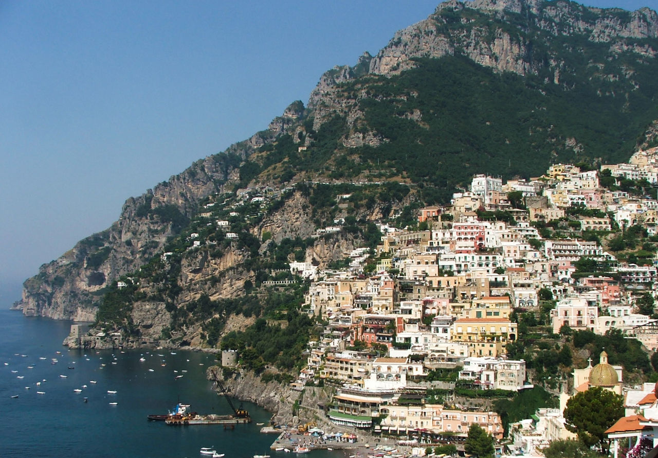 Cultures Beauty In Nature Coast Travel Destinations Boat Yellow Water Green Island View  Island View  Island View  Island View  Naples, Italy Travel, Rocky, Bright, Sunshine, Nature Mountain Positano Sky Nature