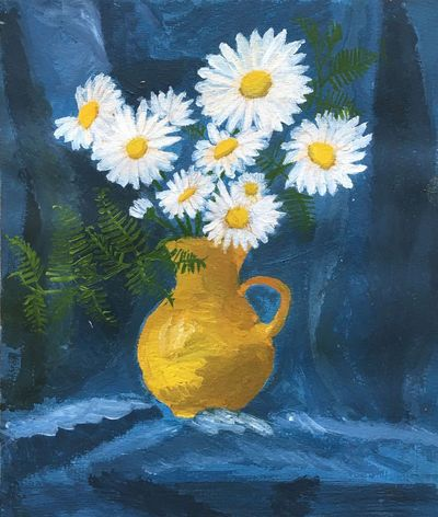 I used to paint when was 16 :) Flower Vase Yellow Fragility Petal Nature Flower Head Beauty In Nature Freshness Daffodil Close-up Blue Bouquet No People Day Beauty Indoors