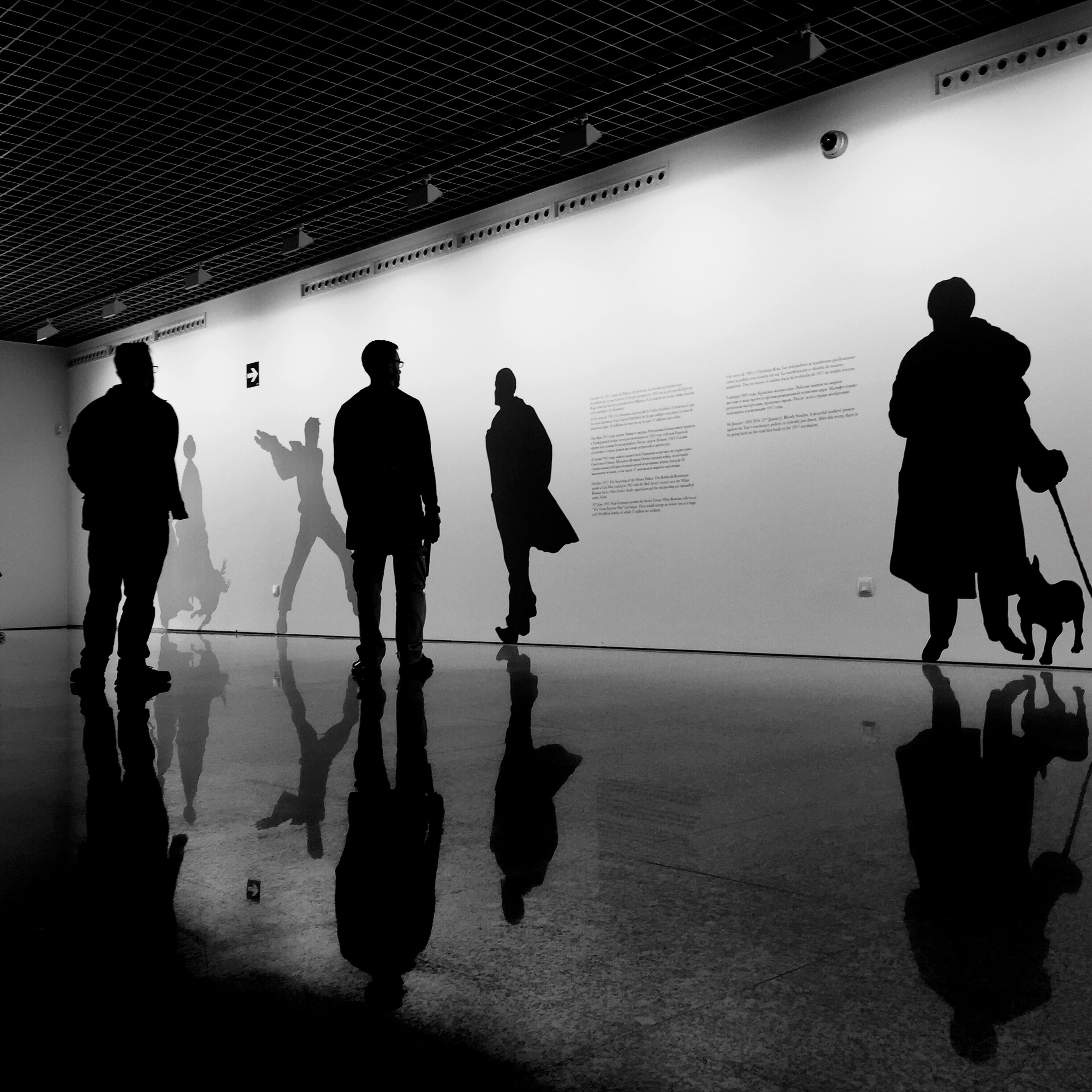 men, indoors, lifestyles, walking, person, standing, full length, rear view, silhouette, leisure activity, flooring, shadow, tiled floor, medium group of people, togetherness, railroad station, day