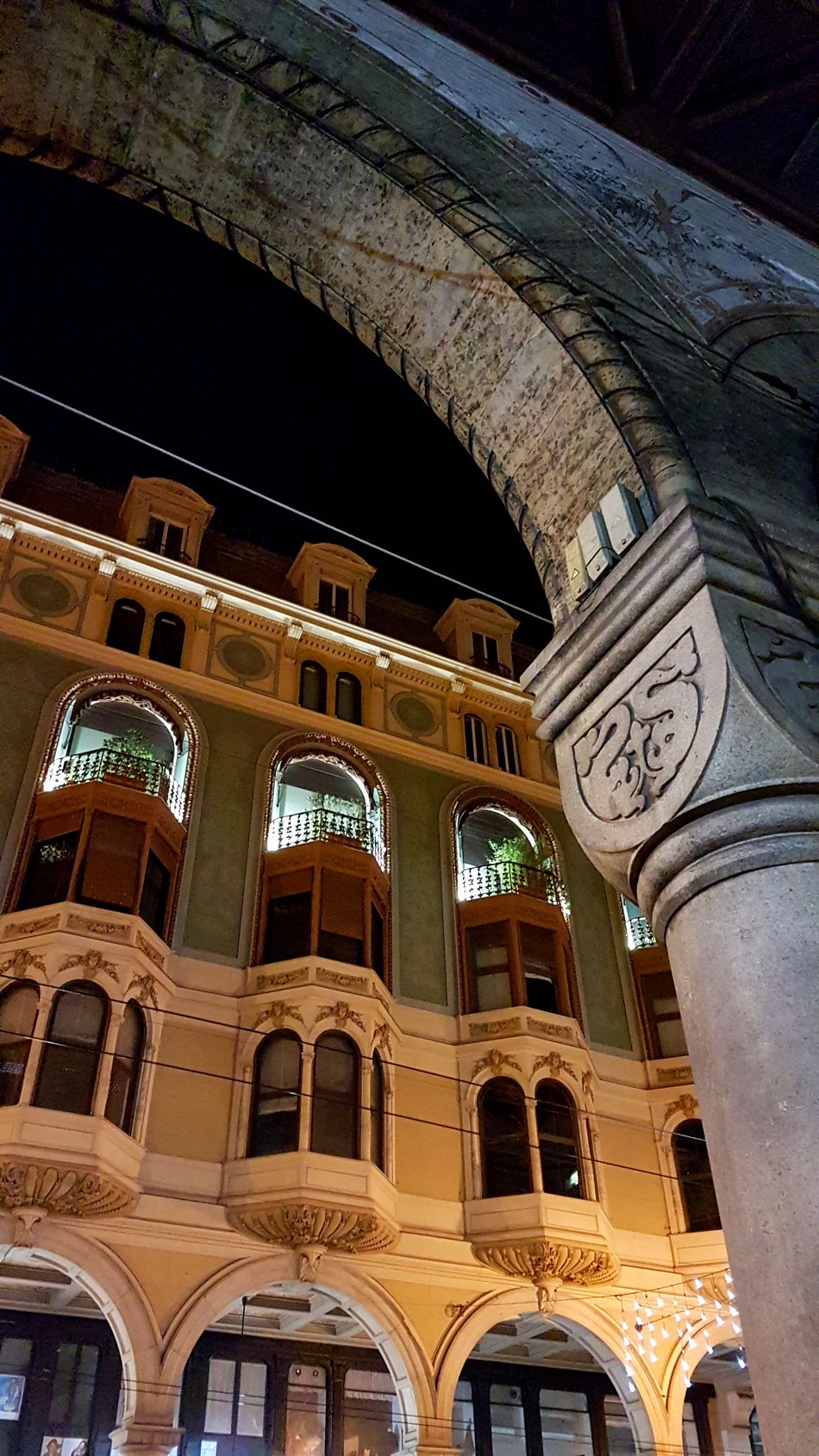 Streetlights Streets No People Stone Stonestructures Architecture Ancient City Cities At Night Genova Night Arch Built Structure Illuminated Columns Colonne Architectural Column Porticato Portici Windows