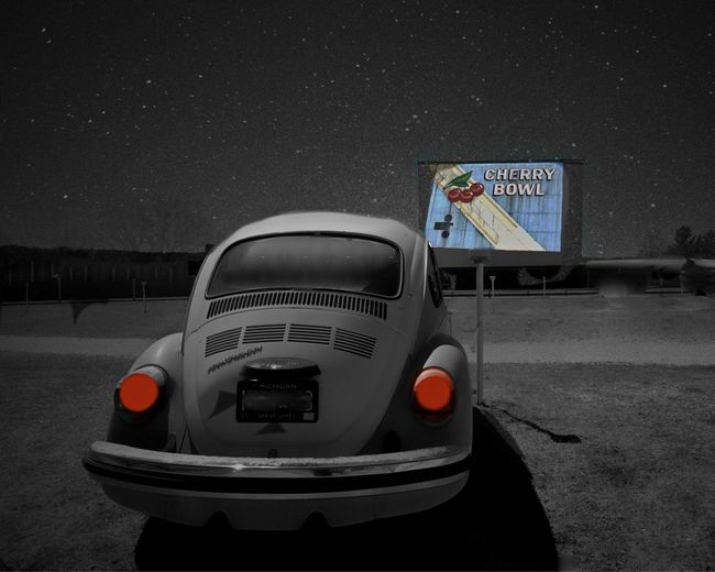 Pass the Popcorn. The Cherry Bowl Drive-in Theater in Michigan has been operating since 1953. Drive-in Movie Drive-in Theater Mode Of Transport Night Sky No People Old Car Outdoors Sky Taillights VW Beetle Cinema In Your Life Fine Art Photography