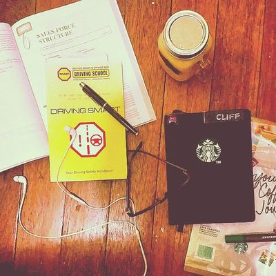 Reading my driving safety handbook and sales & marketing management book. Time to recall everything from college for my Day 1 with my new work (that I won't disclose it yet). And enjoying my new Starbucks2015 Planner with matching autumn-like flavor made by my Lola and I. As requested, a special mention to Mr. Darwin Reyes (@dorkydars) for being the last person to give a sticker for this SB planner. ? Salamat! Masonjar Books Music Eyeglass ParkerPen Pen Chill VeryProductiveDay