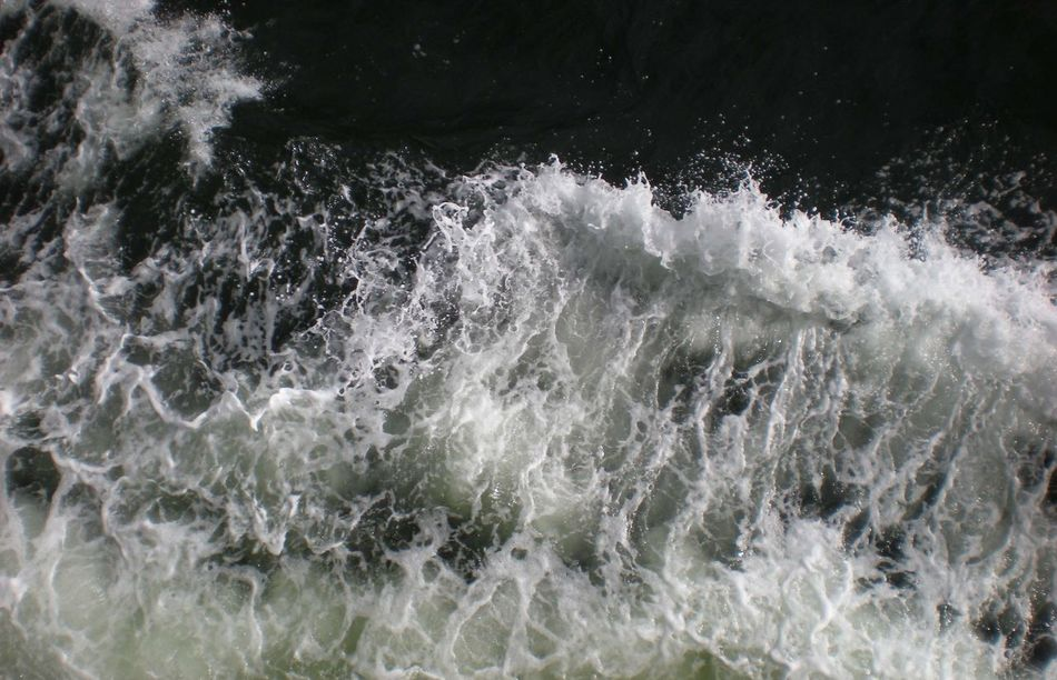 Waves induced by a ship. Beauty In Nature Close-up Disturbed Motion Power In Nature Sea Splashing Troubled Troubled Water Turmoil Water Wave