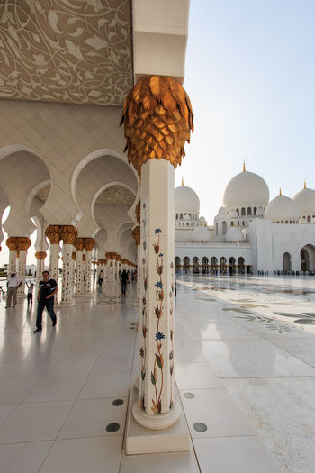 Sheikh Zayed mosque in Abu-Dhabi Abu Dhabi Arabic Architectural Column Architectural Feature Architecture Building Exterior Built Structure Creativity Faith Famous Place Flooring History Islam Mosque People Person Place Of Worship Religion Sheik Zayed Mosque Spirituality Temple - Building United Arab Emirates White Mosque