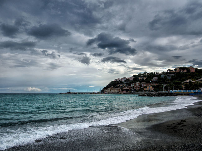 Olympus OMD-10 with 14-42 mm Beach Blue Clouds Clouds And Sky Coastline Eye4photography  EyeEm Best Edits EyeEm Best Shots EyeEm Gallery EyeEm Nature Lover EyeEmBestPics Genova Hanging Out Italia Italy Landscape Landscape_Collection Liguria Panorama Sea Summer Sunset Taking Photos Water Wave