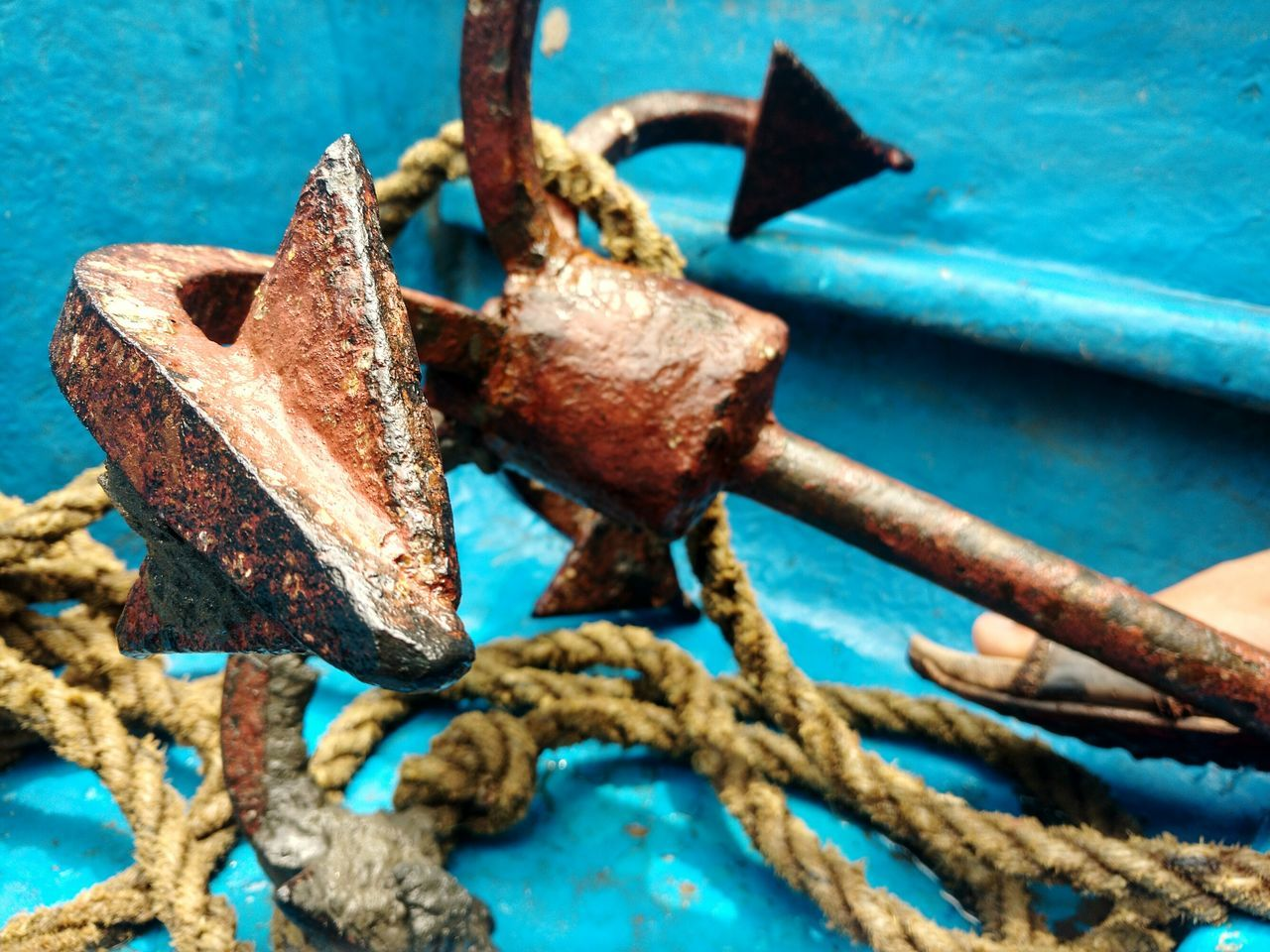 rusty, metal, rope, strength, no people, outdoors, day, blue, nautical vessel, weathered, water, close-up, transportation, cleat, textured, nature