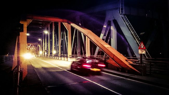 Night Photography, Darkness And Light on an Old Bridge. On My Way Home, On The Move
