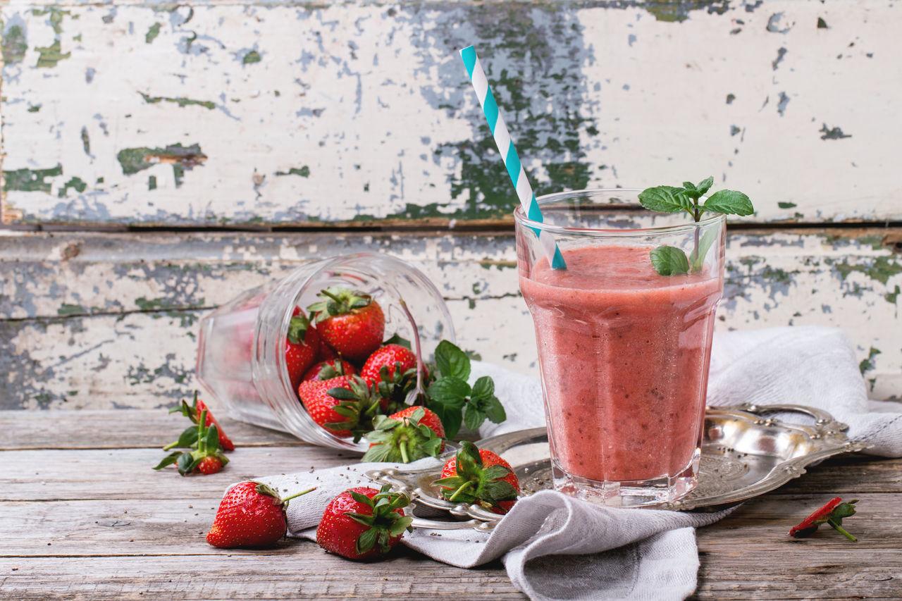 Close-Up Of Strawberry Smoothie