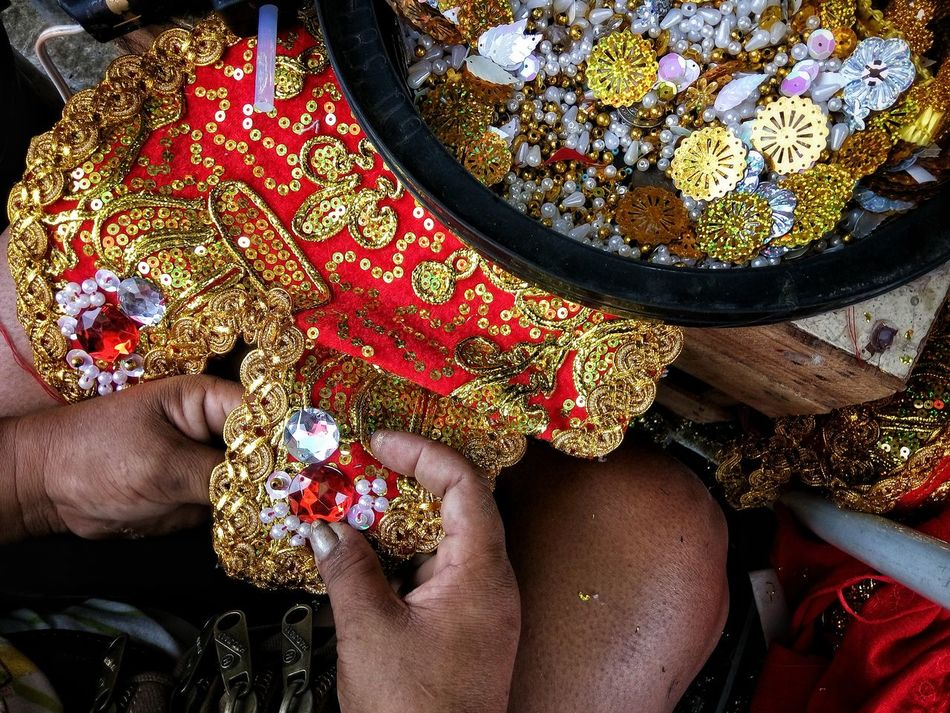 One Person Real People Low Section Human Body Part One Woman Only Only Women Multi Colored Close-up Art Is Everywhere Eyeem Philippines Embellishments Colorful Hand Sew Handsewn Hardwork Sinulog Beads Ornaments Dress