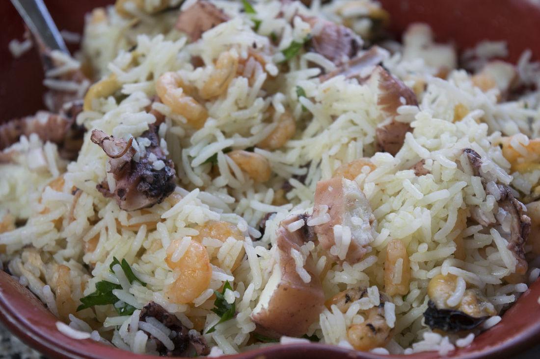 salad rice with mix of fish Basmati Mixed Octopus Rice Risotto Salad Sea Seafood Squid