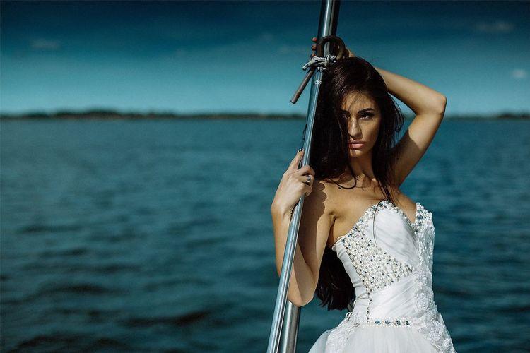 Water Sea Portrait Bride