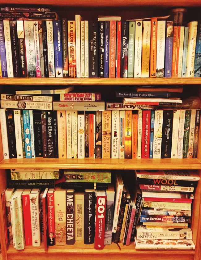 Bookcase Books Bookshelf Paperbacks Colourful Authors Shelves Rows Bookcase Pick One Colour Of Life