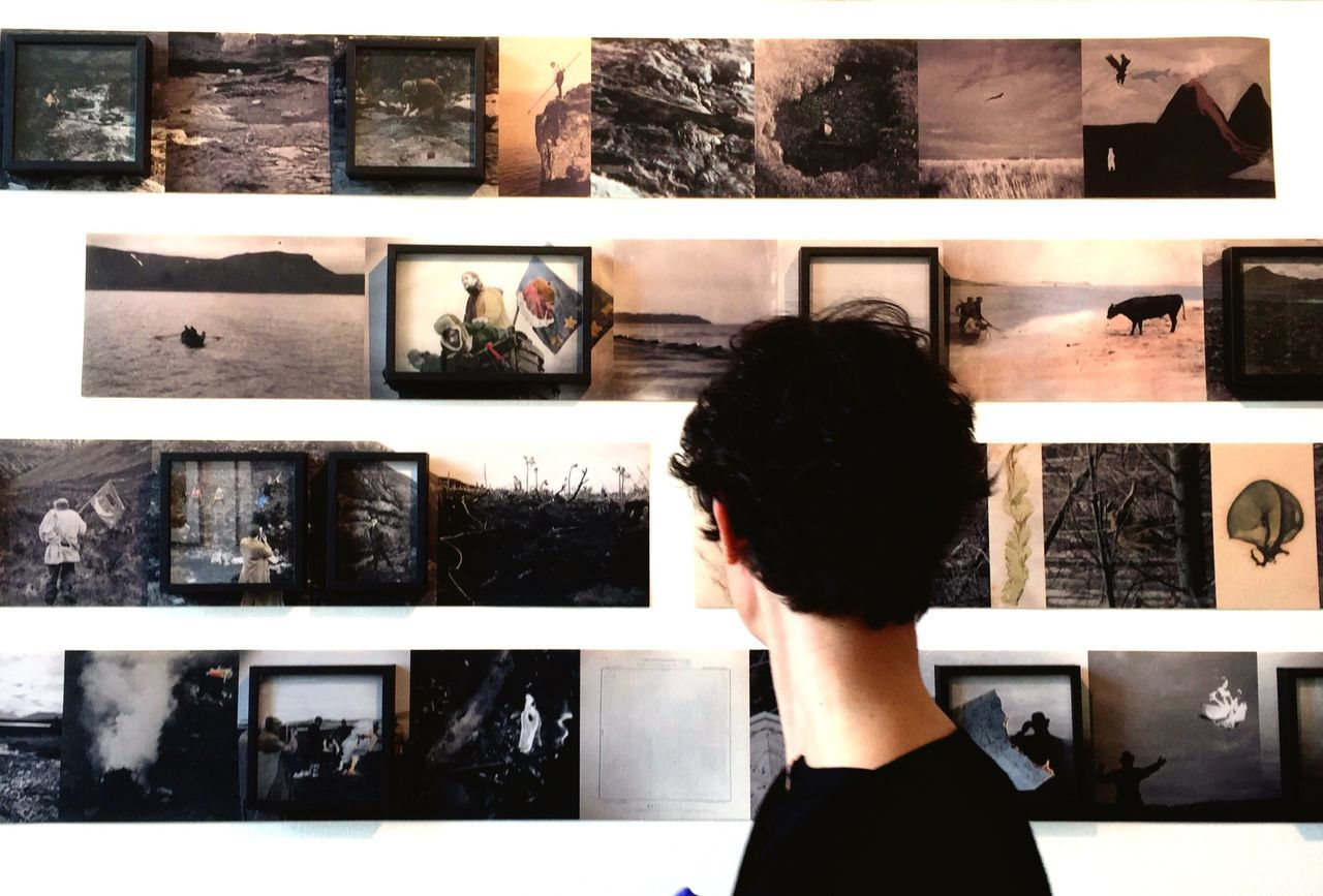 rear view, standing, real people, one person, indoors, collage, women, lifestyles, multiple image, young adult, day