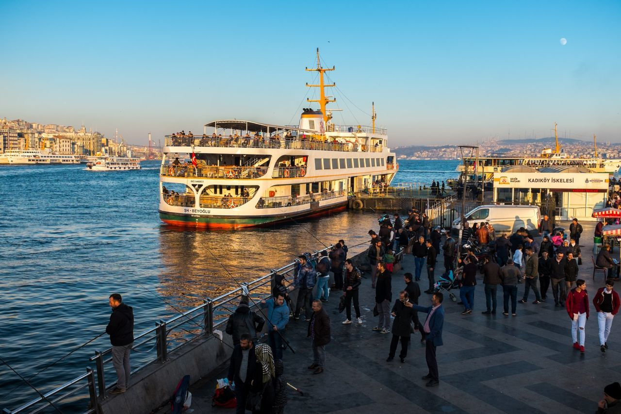 Large Group Of People Travel Sky Nautical Vessel Outdoors City People Ottoman Empire Türkiye Islam Turkey Istanbul Türkei Galata Bridge - İstanbul Sunset Eminönü/ İstanbul Eminönü Ship Turkish Flag Architecture Cityscape Travel Destinations Transportation Harbor History