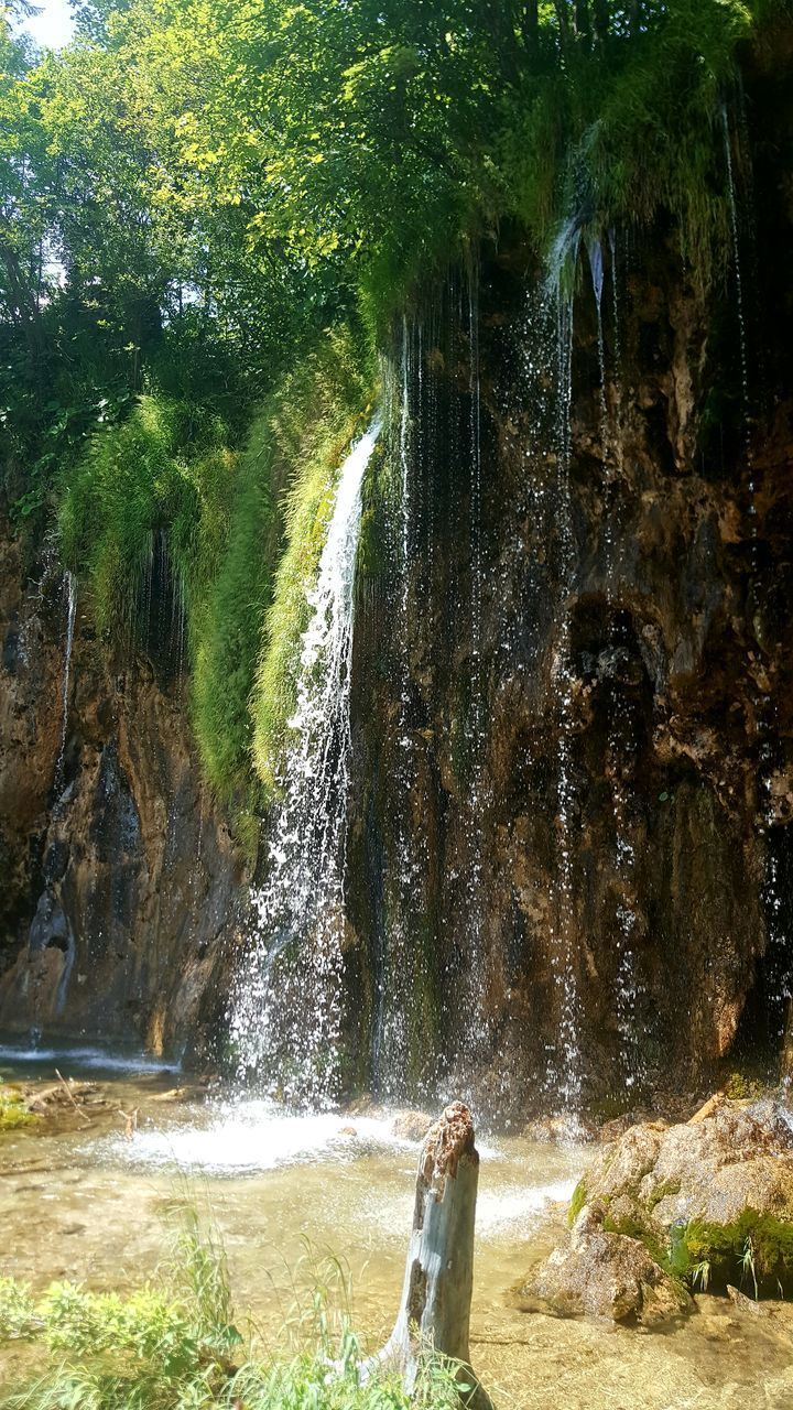 waterfall, water, rock - object, nature, motion, beauty in nature, tree, day, scenics, outdoors, forest, real people