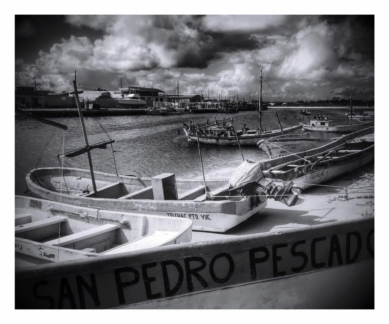 Water Boat Harbor Sky Sea Fishermen Fisherman Boat Fisherman Village Yucatan Mexico Yúcatan Storm Cloud Pelican Mexico Blackandwhite