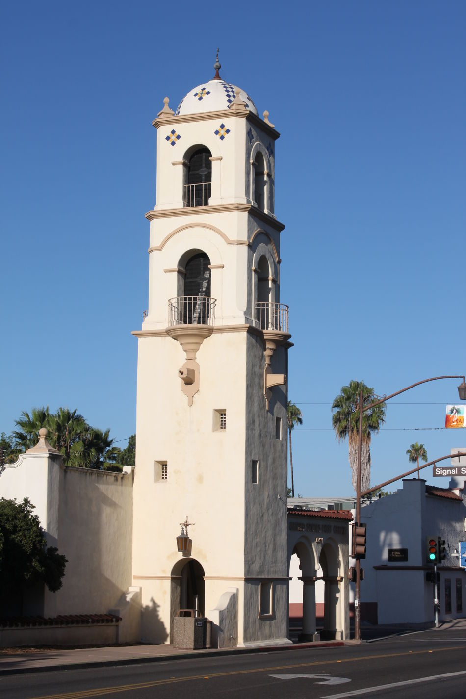 Post Office Tower Ojai Downtown Ojai with the post office tower. Architecture Attraction Building Buildings California City Design Downtown Exterior Famouse Historic Historical History Landmark Ojai Old Outdoors Southern Street Structure Tourism Tourist Tower Traditional White