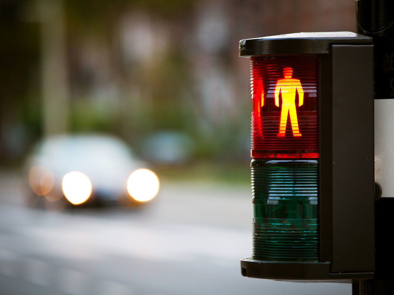 Blurred Background Car Danger Day Driving Lights No People Outdoors Pedestrian Crossing Pedestrian Trafficlight Red Light Street Traffic Traffic Lights Twilight Urban Waiting