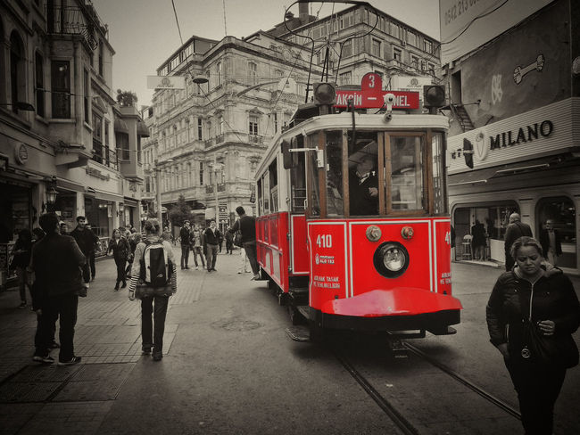 Architecture Built Structure City City Life City Street Day Galata Galatatower History Istanbul Istanbul Turkey Leisure Activity Lifestyles Mode Of Transport Outdoors Public Transportation Red Sky Square Taksim Travel Destinations