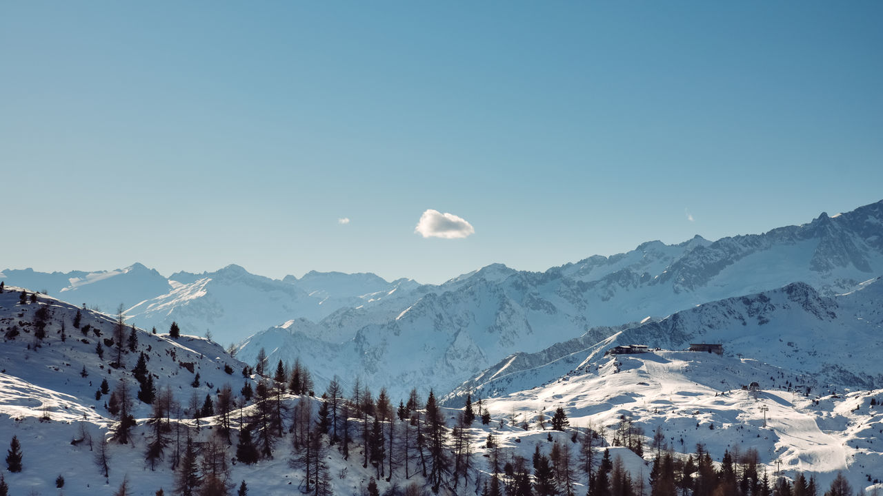 snow, winter, cold temperature, mountain, nature, beauty in nature, tranquil scene, snowcapped mountain, scenics, tranquility, outdoors, copy space, mountain range, sky, day, blue, landscape, clear sky, no people