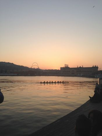 Sunset Water River Silhouette Architecture Outdoors Real People Nature Nautical Vessel Bridge - Man Made Structure Sky Beauty In Nature Day Sport Canoe