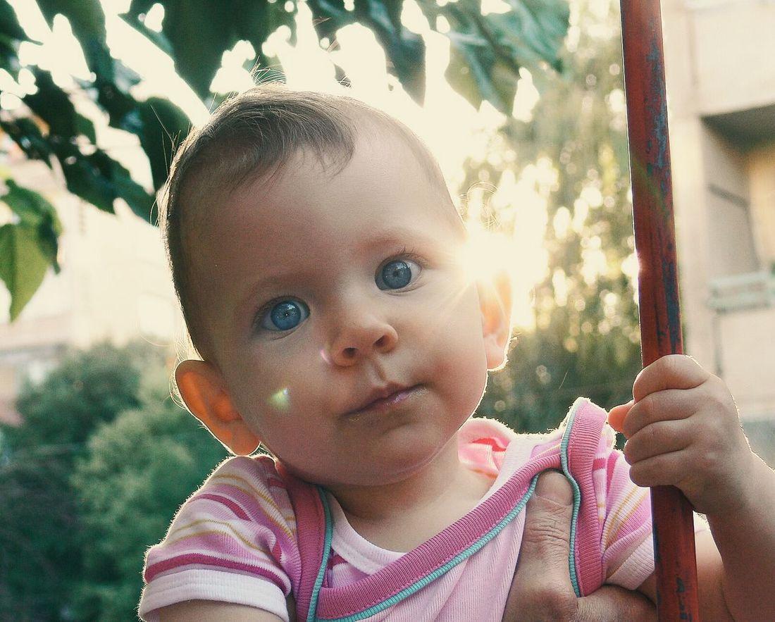 So? Portrait Kid Blue Eyes Sun