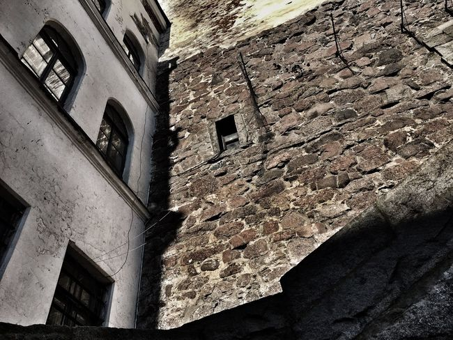 Low Angle View Built Structure Building Exterior Architecture Window Brick Wall Residential Structure Outdoors Day Sky History Weathered No People
