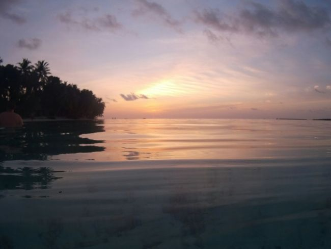Vilamenhoo Island, Maldives Relaxing Enjoying Life Holiday Sunset Water Reflections Beautiful Surroundings Palm Trees Natural Beauty! Tropical Paradise Landscapes With WhiteWall