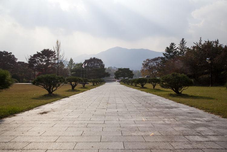 Nongae Temple, Jeonlabukdo, South Korea Day Korean Style Korean Traditional Architecture Mountain Nature No People Outdoors Pathway Road Sunlight Tree Walkway Water