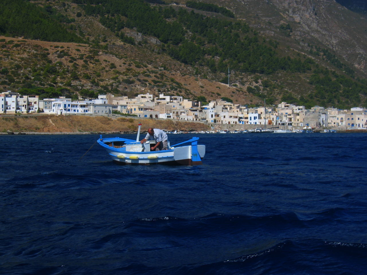 Boat Day Daylight Fisherman Marettimo Island Mountain Nature Scenics Sea Water Waterfront