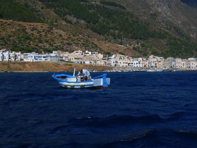 Boat Day Daylight Fisherman Marettimo Island Mountain Nature Scenics Sea Water Waterfront