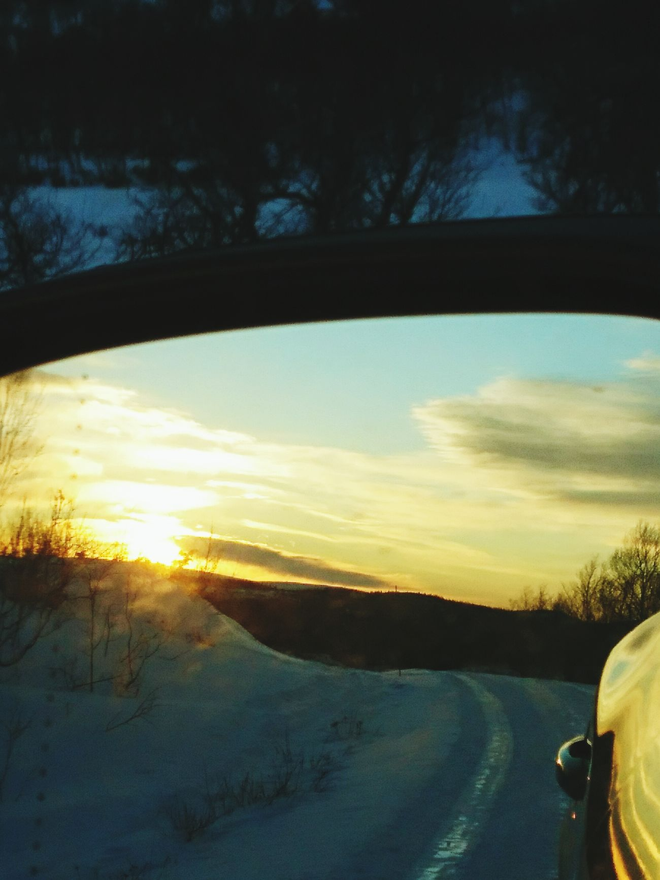 Morning Winter Snow Sunrise Rearview Mirror Trees Nature