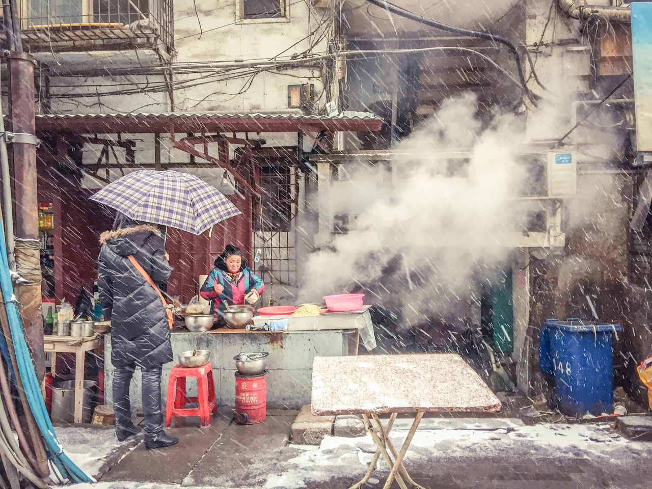 real people, smoke - physical structure, built structure, full length, two people, architecture, day, building exterior, men, outdoors, working, adult, adults only, people, only men, young adult