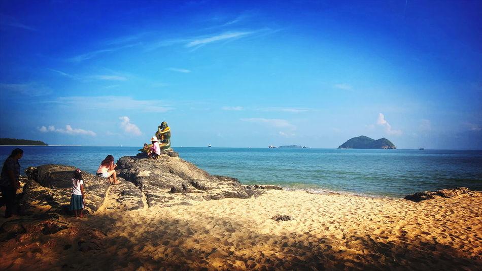 Sea Beach Sand Outdoors Sky People Beauty In Nature Water Day Nature Songkhla, Thailand. Songkhla Province Songkhla Landmark Samilabeach Samila Beach Samila