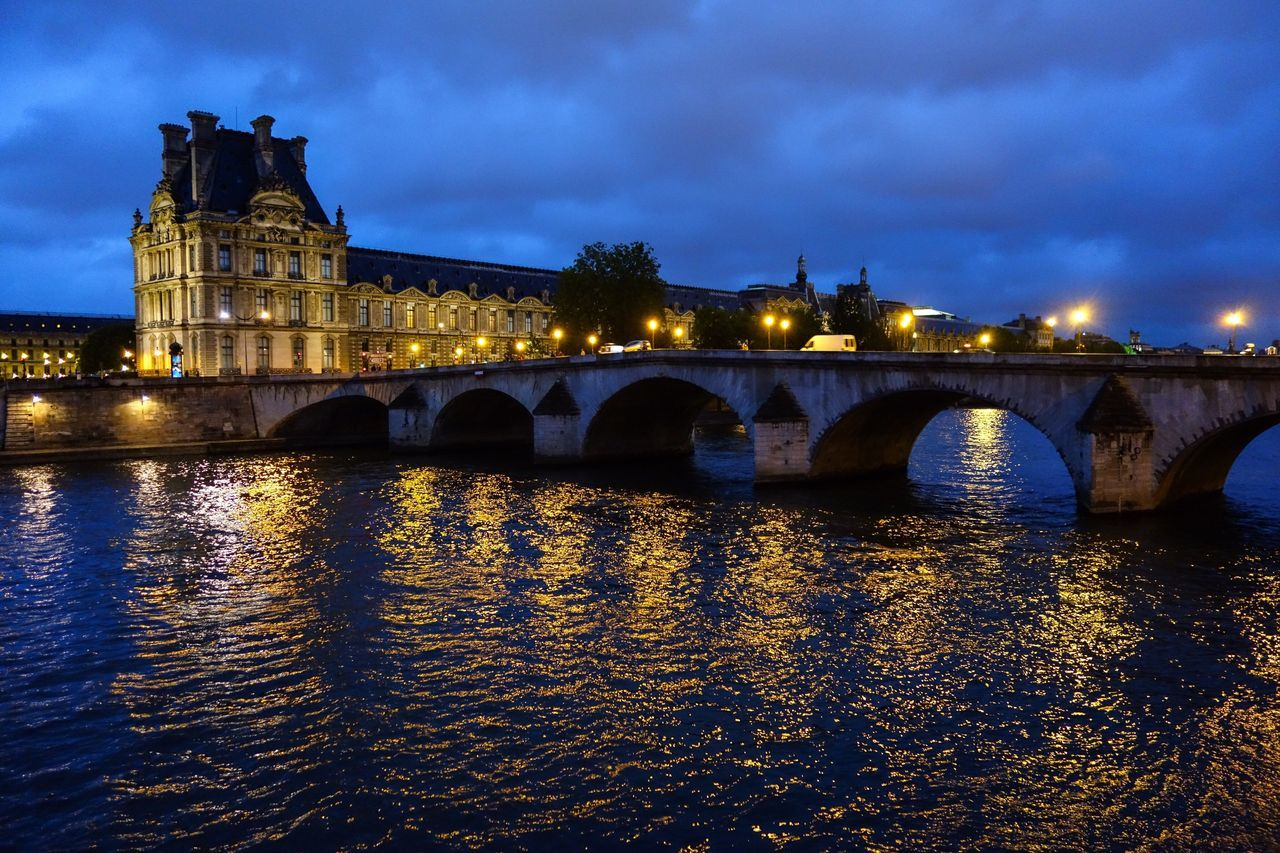Architecture Connection River Arch Bridge Illuminated Cloudy Night Water Sky Streetlamps History Waterfront Travel Destinations Outdoors Cityscape Reflections Dusk France Paris Twilight Seine Pont Royal EyeEmNewHere EyeEm Best Shots