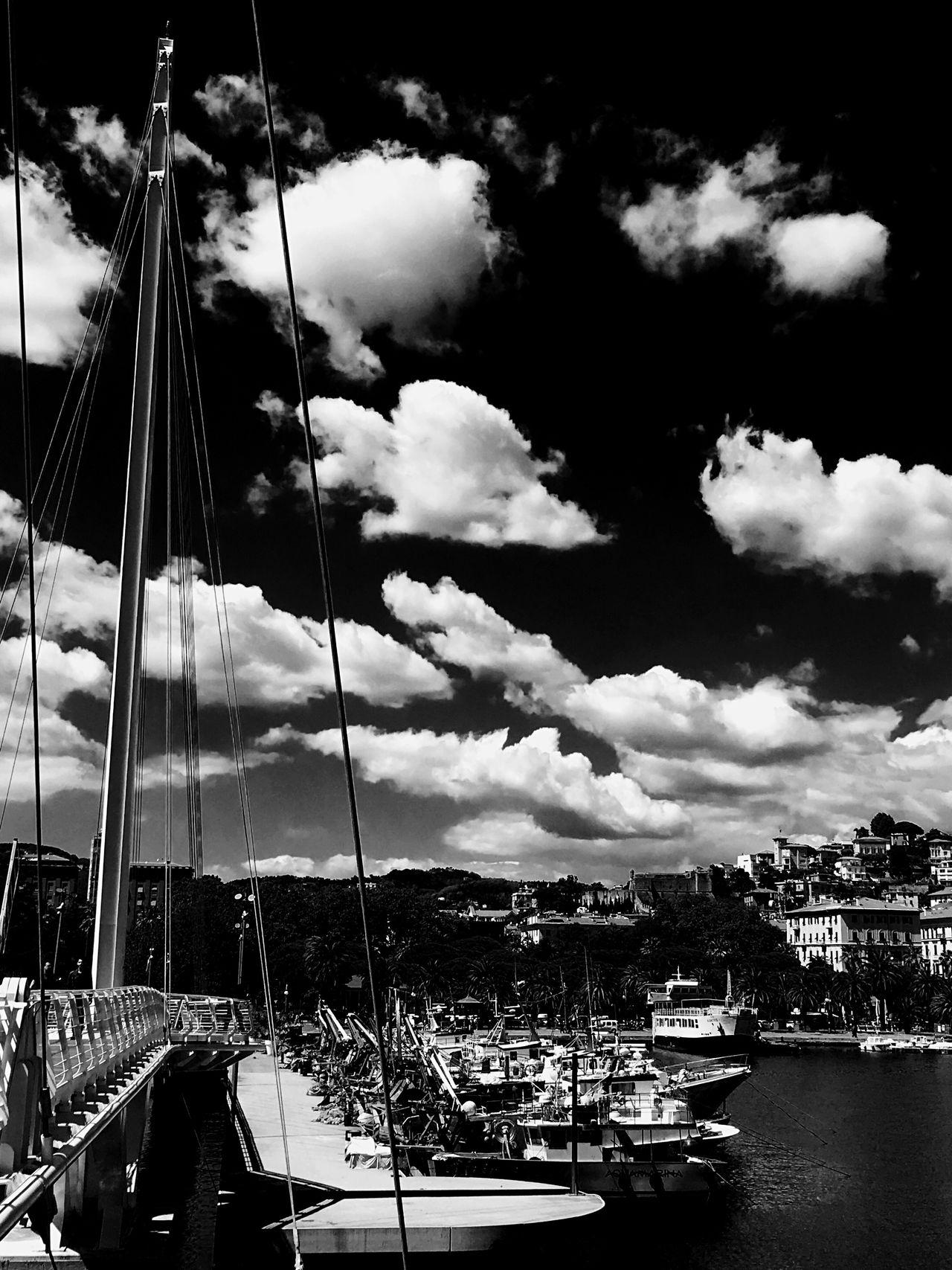 Sky & Clouds Blackandwhite Harbor