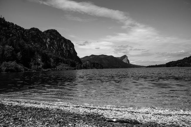 My place of peace: sitting by the Mondsee yesterday Landscape Landschaft Foto Mondsee Monochrome Schwarzweiß Black And White Bayern Germany