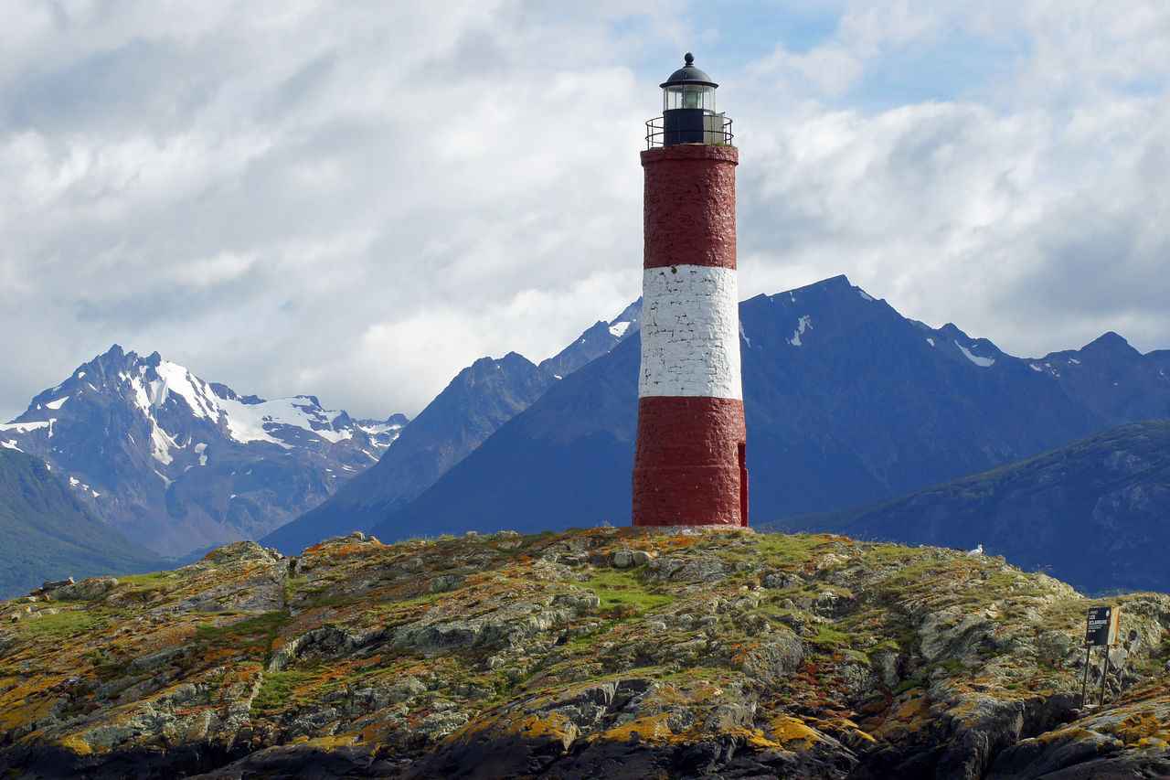 Lighthouse, Beagle Channel, Patagonia, Argentina Architecture Argentina Building Exterior Built Structure Coast Coastline Day Landmark Lighthouse Mountain Range Mountains No People Outdoors Panorama Patagonia Red Sea Sights South America Tourism Tourist Attraction  Tower Travel Travel Destinations Ushuaïa
