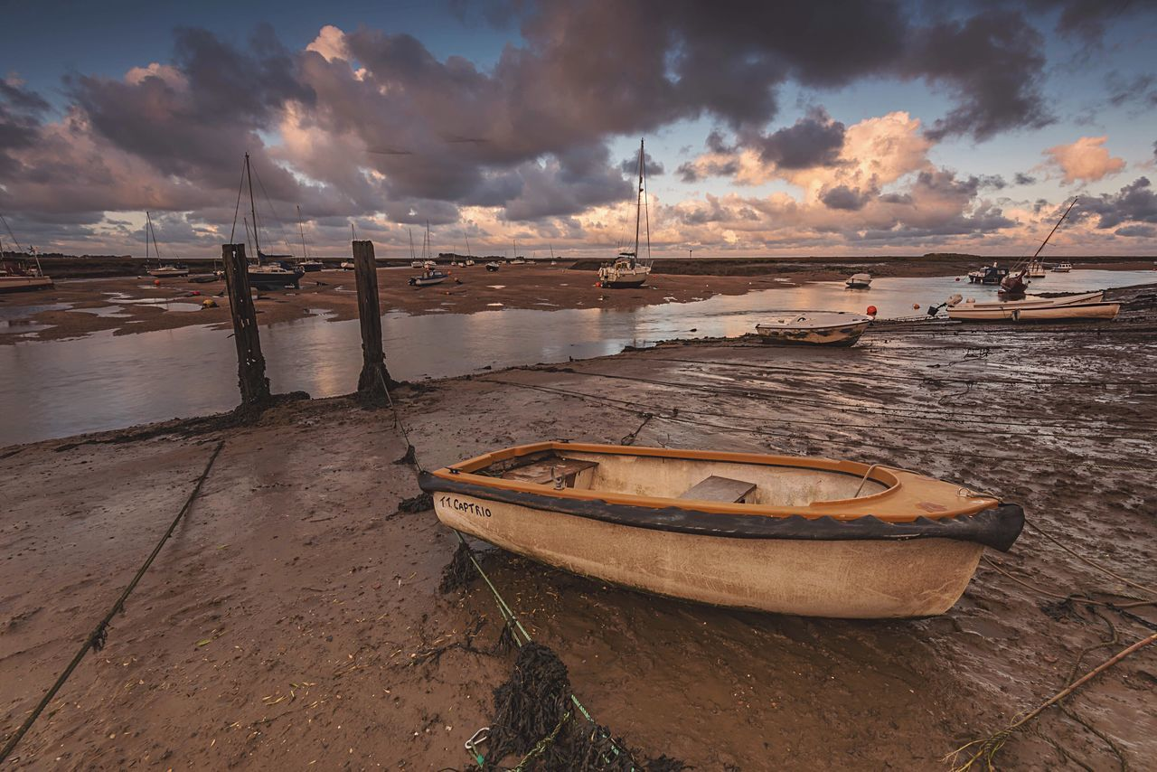 In the dock Nautical Vessel Moored Cloud - Sky Scenics Tranquility Beach Harbour Tidesout Low Tide Wells-next-the-Sea Norfolk Landscape_photography Winter Sky Travel Destinations Naturelovers Coastal Water_collection Sea And Sky