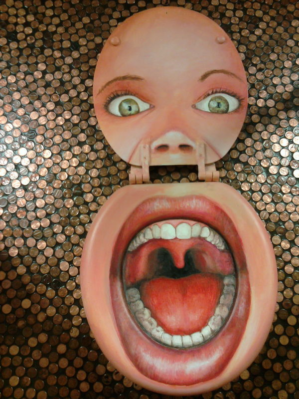 Scum of the Earth Church ArtWork Bathroom Art Church Interesting Pieces Money Mouth Open Pennies Toilet Seat Toilette Art Eyes Faces In Places Teeth Mouth