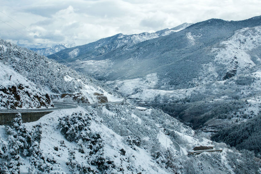 Cloud - Sky Cold Temperature Landscape Photography Mountain Mountain Road Nature Outdoors Shooting From A Car Snow Snow Covered Landscape Travel Destinations