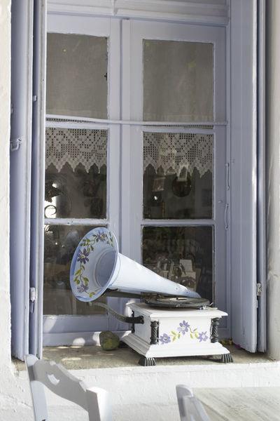 Gramophone Lillac No People Open Window Window Sill