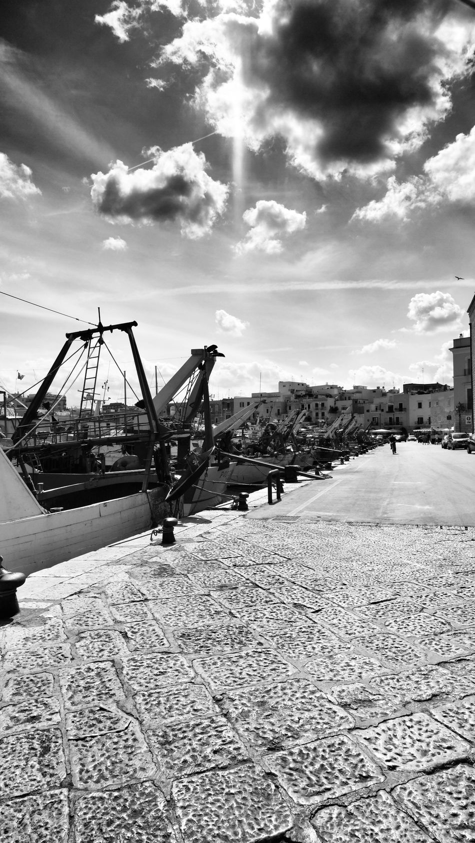 Black And White Cloud - Sky Day Fishboat Harbor No People Outdoors Sky Trani