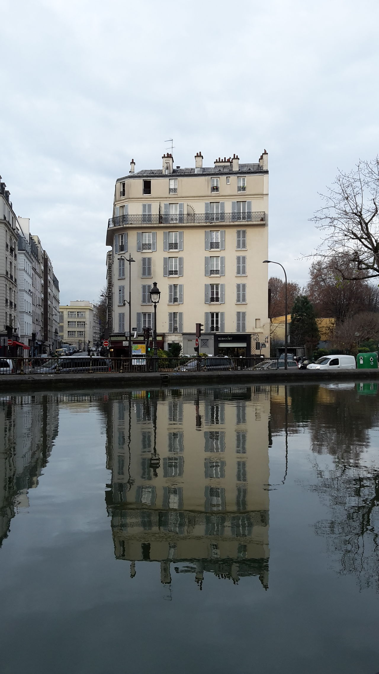 Buiding Reflection In The Water Paris, France  Morning Canal Saint-Martin