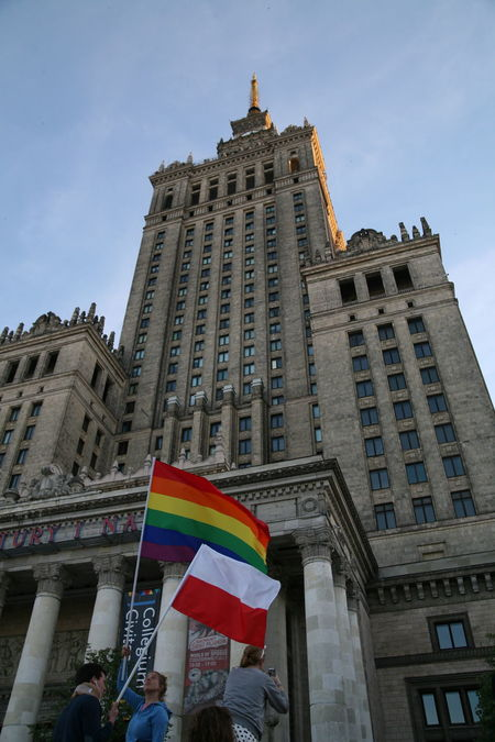 Architecture City Day Flag Gay Gay Rights Large Group Of People Lgbt Outdoors Parade People Poland Pride Pride Parade Real People Sky Warsaw